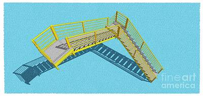 Santa Monica Mixed Media - Stair 28 Cyan And Yellow Architecture Shadow Original Sketch For Architects by Pablo Franchi