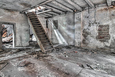 Photograph - Stair In Old Abandoned  Building by Michal Boubin