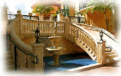 Staircase And Fountain Art Print by Ralph Liebstein