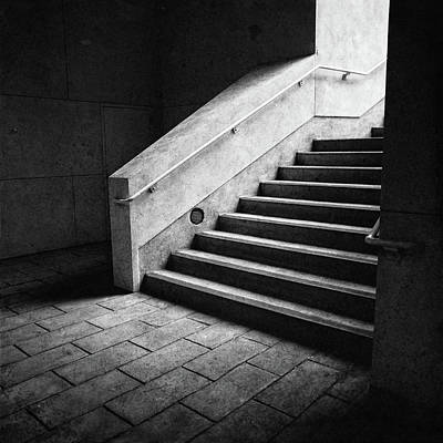 Photograph - Staircase And Landing Bw Parking Structure by YoPedro