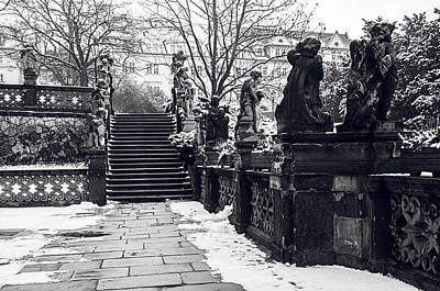 Photograph - Staircase And Sculptures Of Cherubs In Loreta Complex 1. Snowy Walk In Prague by Jenny Rainbow