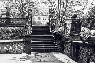 Photograph - Staircase And Sculptures Of Cherubs In Loreta Complex Black And White by Jenny Rainbow
