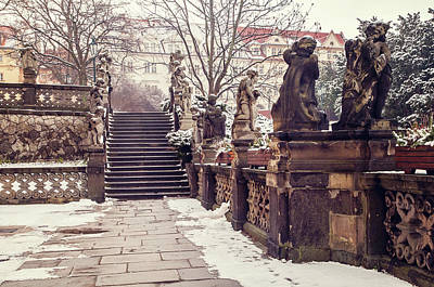 Photograph - Staircase And Sculptures Of Cherubs In Loreta Complex. Snowy Walk In Prague by Jenny Rainbow