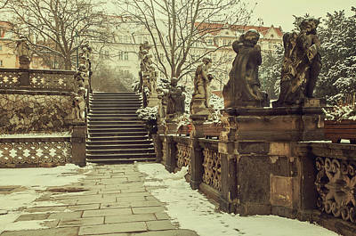 Photograph - Staircase And Sculptures Of Cherubs In Loreta Complex Vintage by Jenny Rainbow