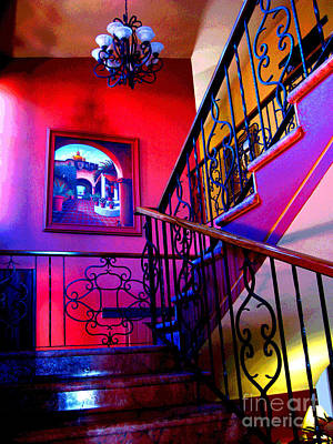 Staircase At Casa De Leyendas By Darian Day Art Print by Mexicolors Art Photography