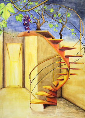 Grape Leaves Drawing - Staircase by Genevieve Gislason