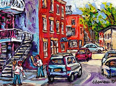 Baseball Scene Painting - Staircase In Summer Sunlit Montreal Scene Kids Baseball Paintings Rue Panet At Logan Best Street Art by Carole Spandau
