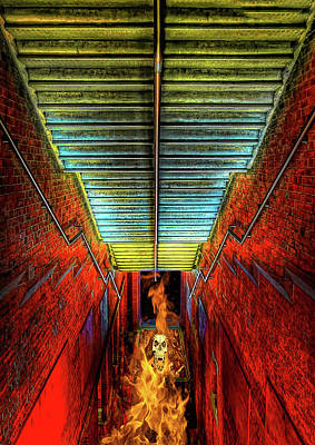 Staircase Into Hell Art Print by Elaine Plesser