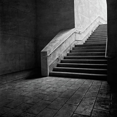 Photograph - Staircase Into Light Bw Parking Structure by YoPedro