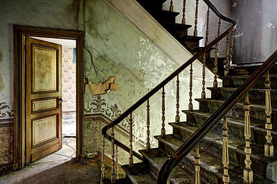 Stairs In Abandoned Castle - Urban Decay Art Print by Dirk Ercken