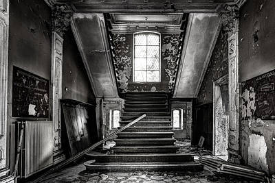 Stair Case Photograph - Stairs In Abandoned Castle - Urbex by Dirk Ercken