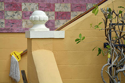 Photograph - Stairs, Mop And Pink Tiled Wall At Albin Polasek Museum Gardens by Bruce Gourley