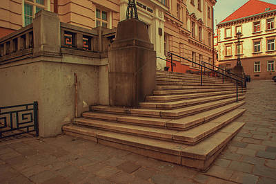 Stairs Of Old Courthouse. Znojmo Art Print by Jenny Rainbow
