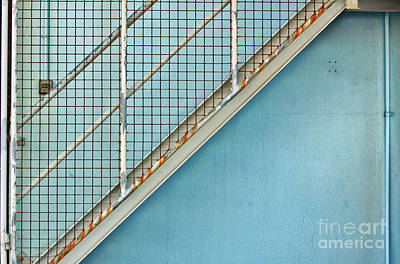 Print featuring the photograph Stairs On Blue Wall by Stephen Mitchell