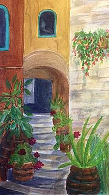 Painting - Stairs Through The Arch Southwest Cropped by Ellen Levinson