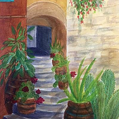 Painting - Stairs Through The Arch Southwest Square by Ellen Levinson