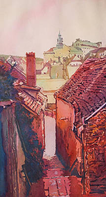 Stucco Painting - Stairs To Cesky Krumlov by Jenny Armitage