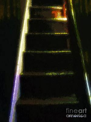 Wooden Stairs Painting - Stairs To The Madwoman's Attic by RC deWinter