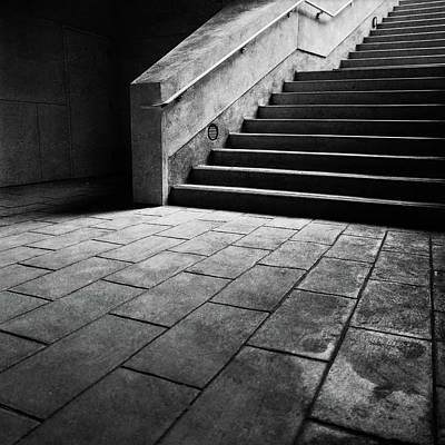Lomo Photograph - Stairs To The Top Bw Parking Structure by YoPedro