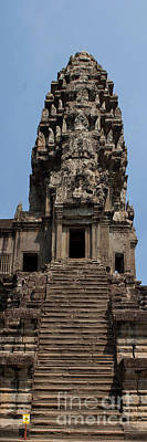 Photograph - Stairway At Ankor Wat-panorama by J L Woody Wooden