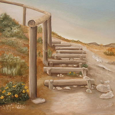 Stairway From The Beach Art Print by Angeles M Pomata
