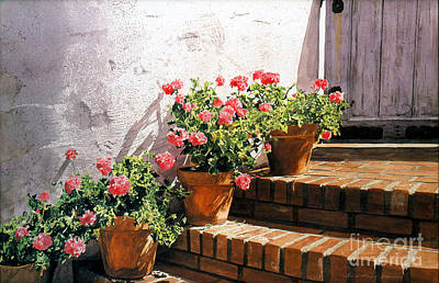 Painting - Stairway Of Geraniums by David Lloyd Glover