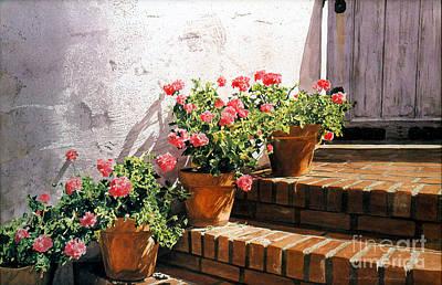 Stairway Of Geraniums Original by David Lloyd Glover