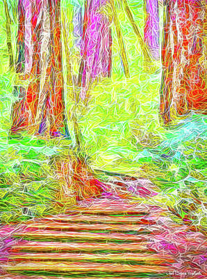 Art Print featuring the digital art Stairway Through The Redwoods - Tamalpais California by Joel Bruce Wallach