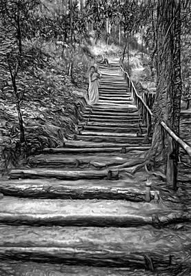 Stairway To Heaven - Bw Print by Steve Harrington