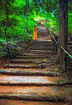 Stairway To Heaven Impasto Print by Steve Harrington