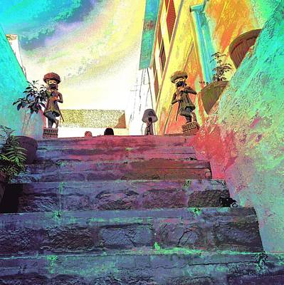 Photograph - Stairway To Heaven Restaurant Blue City India Rajasthan 1a by Sue Jacobi