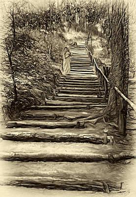 Stairway To Heaven - Sepia Print by Steve Harrington