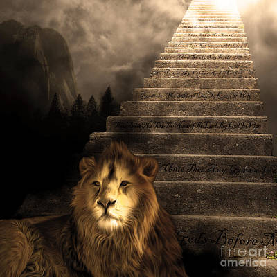 Stairway To Heaven V1 Sepia Square Print by Wingsdomain Art and Photography