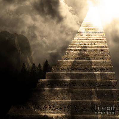 Stairway To Heaven V2 Square Sepia Print by Wingsdomain Art and Photography