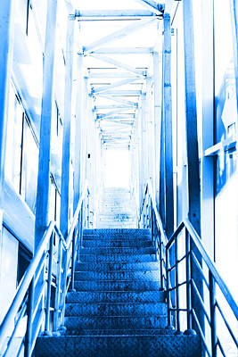 Stairway To The Light Blue Color Print by Vadim Goodwill