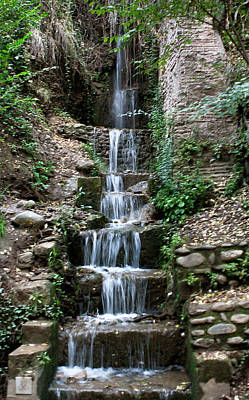 Stairway Waterfall Art Print by Lorraine Devon Wilke