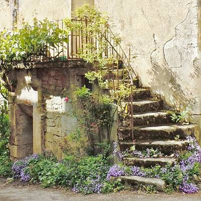 Burgundy Photograph - Stairway With Flowers Flavigny France by Marilyn Dunlap