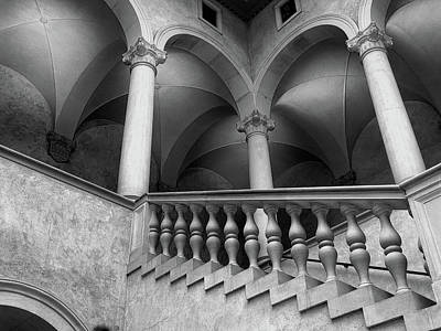 Stairways And Arches, Worcester Art Museum Bw Art Print by Bill Dussault