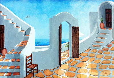 Stairways By The Sea Print by Mary Grden's Baywood Gallery