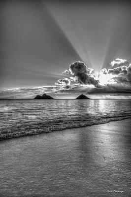 Photograph - Stairways To Heaven B W Lanikai Beach Sunrise Hawaii Collection Art by Reid Callaway