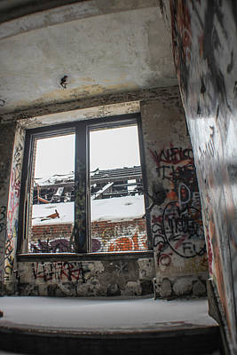 Photograph - Stairwell And Window Michigan Central Station by John McGraw