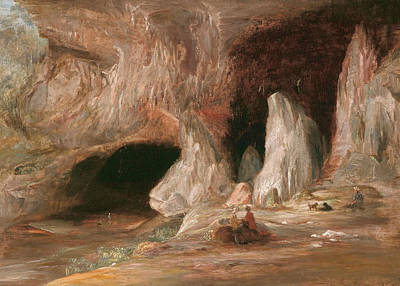 Cave Painting - Stalagmite Columns At The Southern Entrance Of The Burrangalong Cavern  by Conrad Martens