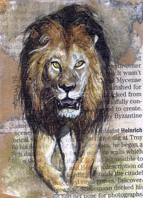 Stalking Lion Original by Adrienne Norris