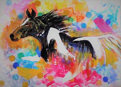 Mixed Media - Stallion In Abstract by Khalid Saeed