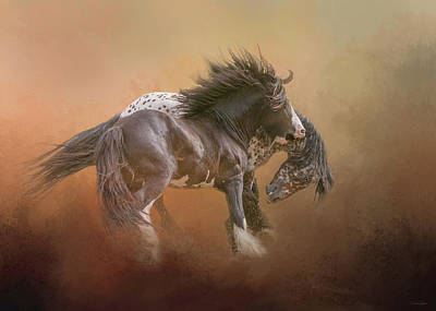 Digital Art - Stallion Play by Nicole Wilde