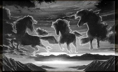 Digital Art - Stallions In The Clouds by Mario Carini
