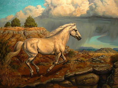 Kerry Nelson Painting - Stallion's Overlook by Kerry Nelson