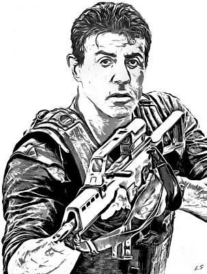 Drawing - Stallone by Sergey Lukashin