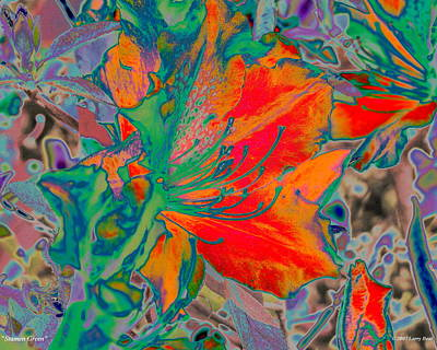Digital Art - Stamen Green by Larry Beat