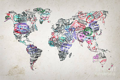 Immigration Photograph - Stamp Art World Map by Delphimages Photo Creations